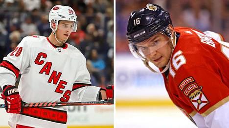 Sebastian Aho (vas.) ja Aleksander Barkov kuuluvat NHL:n eliittipelaajiin.