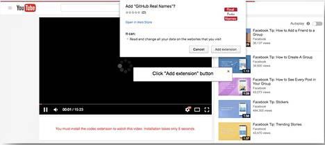 Windowsin ja Chromen käyttäjälle esitetään väärennetty YouTube-sivu, jolta käsin yritetään asentaa selainlaajennus Chromeen.