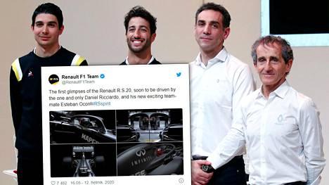 Vasemmalta oikealle Renaultin kuljettajat Esteban Ocon ja Daniel Ricciardo sekä heidän vierellään nokkamiehet Cyril Abiteboul ja Alain Prost.