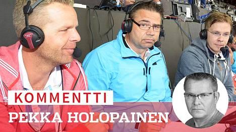Jussi Eskola (vas.), Mika Lehtimäki ja Niki Juusela selostivat yleisurheilun EM-kilpailuissa Zürichissä vuonna 2014.