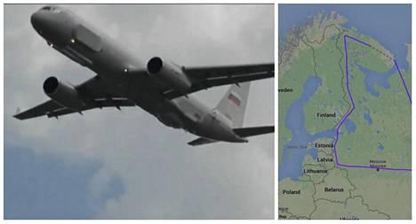 Venäjän uusi superkone lensi vain kymmenien kilometrin etäisyydellä Suomen itärajasta Alakurtin, Kostamuksen, Sortavalan ja Viipurin vierestä jatkaen kohti Viroa.