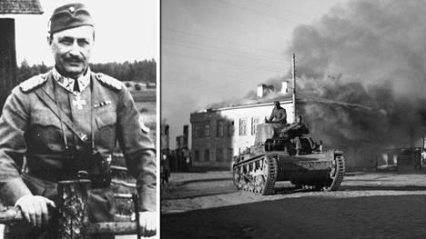 Uuden kirjan mukaan Mannerheim oli taidostaan epävarma ja haki tunteeseen joskus apua alkoholista. Suomalaistankit Petroskoissa. Kirjan mukaan Itä-Karjalan valtaus oli erehdys.