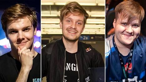 """Burnout eli loppuunpalaminen on koskettanut Timo """"Taimou"""" Kettusen (vasemmalla), Jesse """"JerAx"""" Vainikan (keskellä) ja Lauri """"Cyanide"""" Happosen uraa."""