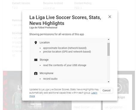 Google Play -sovelluskaupan tiedot kertovat La Ligan mobiilisovelluksen muun muassa käyttävän puhelimen mikrofonia ja paikannustoimintoa.