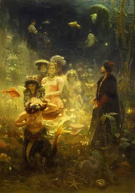 Sadko vedenalaisessa valtakunnassa (1876) perustuu myyttiseen venäläiseen satuun. Teos on Repinille harvinainen fantasia-aihe, joka sai suitsutusta Venäjällä, mutta Pariisissa nuivan vastaanoton.