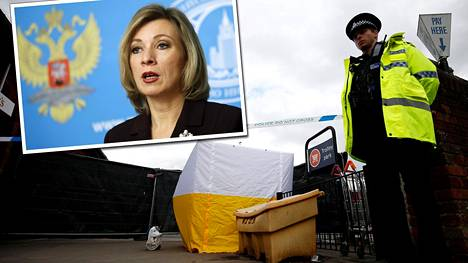 Venäjän ulkomisteriön tiedottaja Maria Zaharova väittää hermomyrkyn lähtömaaksi muuta kuin Venäjän. Poliisi eristi Skripalin myrkytyspaikan Salisburyssa Britanniassa.