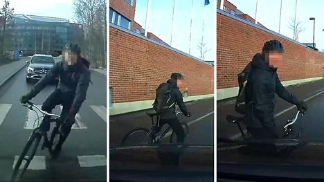 Musta katumaasturi herätti pyöräilijässä alkukantaisen raivon – videolle tallentui rankkaa kiroilua, erilaista uhkailua ja lopuksi antaumuksellista sylkemistä