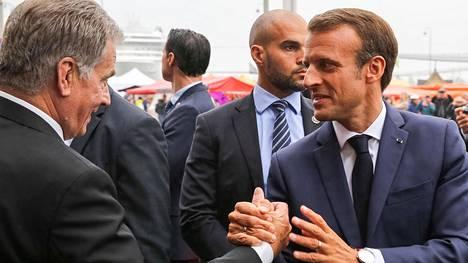 Ranskan presidentti Emmanuel Macron (oik.) vieraili Suomessa elokuussa 2018.