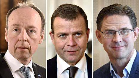 Jussi Halla-aho (vas.), Petteri Orpo ja Jyrki Katainen.