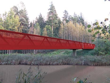 Matarinpuiston sillasta tulee räväkän punainen. Havainnekuva.