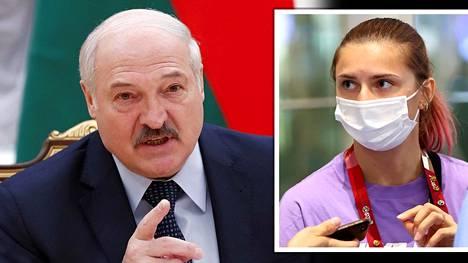 Valko-Venäjän urheilujohto yritti lennättää heitä arvostelleen juoksijan Krystsina Tsimanouskajan (oik.) ennenaikaisesti Tokiosta kotiin. Vasemmalla Aljaksandr Lukashenka.