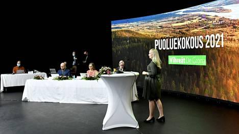 Puheenjohtaja Maria Ohisalo vihreiden puoluekokouksessa Helsingissä.