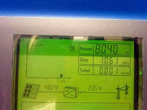 Aurinkosähköjärjestelmän ohjausnäyttö.