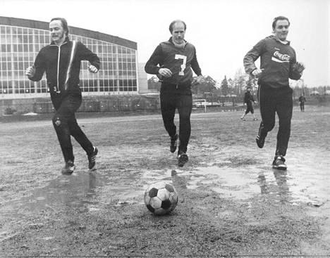 Kiffenin maalihait vuodelta 1977: Reima Kokko, Jarmo Lindahl ja Atik Ismail.