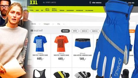 XXL:n Norjan verkkokaupassa on myynnissä runsaasti erilaisia Therese Johaug -tuotteita.