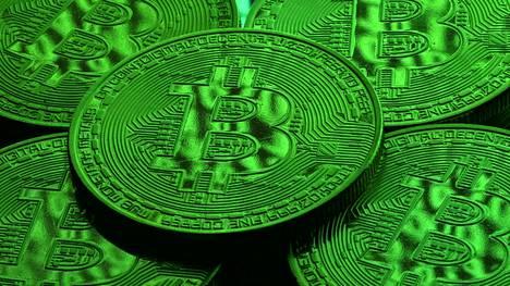 Virtuaalivaluutta Bitcoinin logo kuvituksessa.