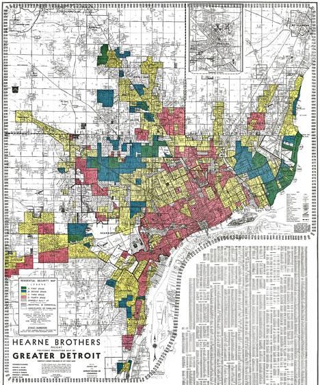 """Värikoodein merkitty Detroitin kartta vuodelta 1939 kertoo asuinalueiden luokittelusta. Punaiset alueet on luokiteltu asumisturvallisuudeltaan """"vaarallisiksi""""."""