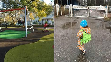 Vasemmalla leikkipuisto Espanjassa, oikealla päiväkotimatka Suomessa.