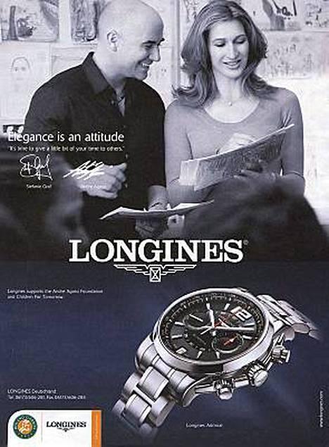 Tennispari Andre Agassi ja Steffi Graf hymyilevät Longinesin kellomainoksessa.