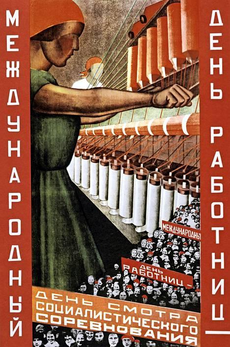 Neuvostoliittoa mainostettiin työläisten paratiisina ja maahan houkuteltiin siirtolaisia myös Yhdysvalloista. Propagandajuliste on 1930-luvulta.