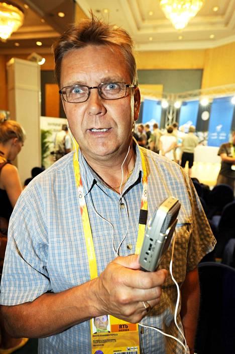 Pertti Tapola työskenteli Häyrisen rinnalla radiossa 1990-luvulla. Kuva Pekingin olympialaisista 2008.
