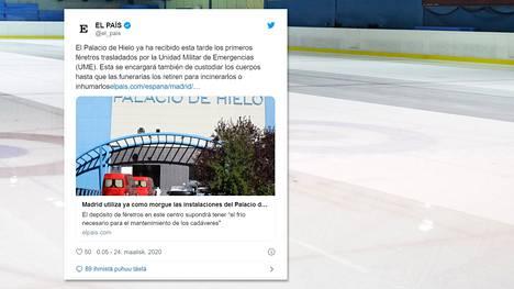Madridilainen jäähalli muutetaan väliaikaiseksi ruumishuoneeksi. Kuvituskuva.