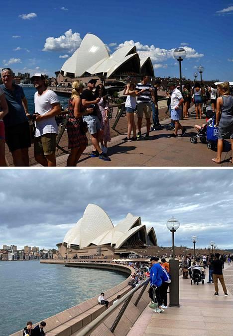 Taustalla näkyvä Sydneyn oopperatalo kuuluu maailman tunnitettavimpiin rakennuksiin. Joulukuussa 2017 rannalla oli vielä vilkasta. Uusin kuva on tämän vuoden maaliskuulta.