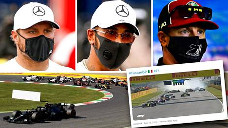 Mugellon F1-kisassa rytisi heti alussa. Valtteri Bottas ja Lewis Hamilton kiihdyttivät kärkeen. Kimi Räikkönen (oik.) oli mukana rytäkässä.