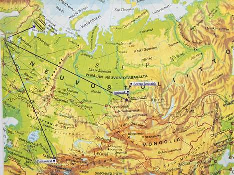Jääskeläisen suvun karkotuspaikat Kuolanniemimaalla, Siperian Krasnojarskissa ja Jeniseiskissä ja Pahta Aralin sovhoosissa Kazakstanissa.