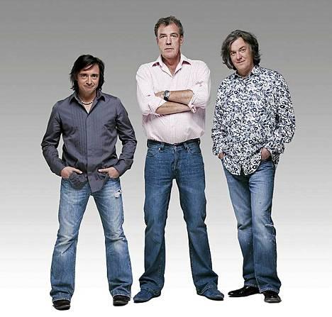 Richard Hammond (vas.), Jeremy Clarkson ja James May ovat Top Gear -ohjelman myötä kohonneet autokansan suosikeiksi ympäri maailman.