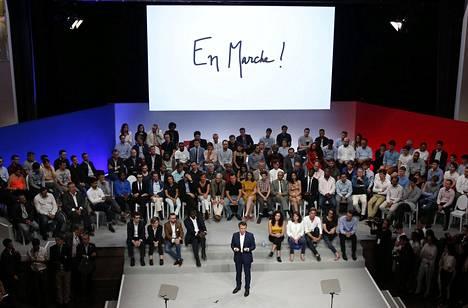 Macron En Marche! -liikkeensä tilaisuudessa viime heinäkuussa.