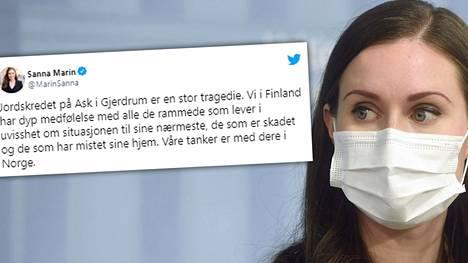 Pääministeri Sanna Marin kirjoitti torstaina iltapäivällä Twitteriin norjaksi.