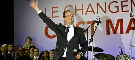 Ranskan tuleva presidentti Francois Holland juhli voittoaan eilen.
