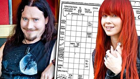 Tuomas tekee ristikoiden pohjat Excelillä, Johanna hoitaa tekstauksen ja piirrokset.