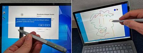 Erikseen myytävä Surface Pen -kynä (á 114,99 €) liitetään läppäriin bluetoothilla. Sen jälkeen sitä voi käyttää enemmän tai vähemmän luovasti.