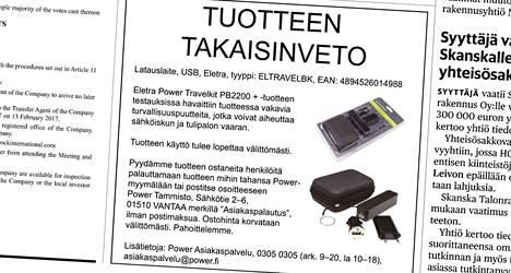 Power-kauppaketju ilmoitti Eletra Power Travelkit -laitteen takaisinvedosta myös tiistain Helsingin Sanomissa.