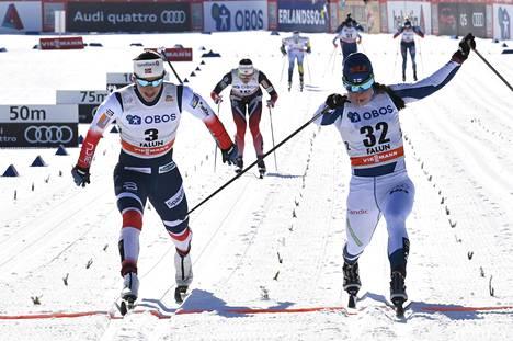 Marit Björgen hävisi voiton Krista Pärmäkoskelle 0,2 sekunnilla.