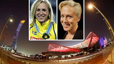 Kajsa Bergqvist voitti MM-kultaa Helsingissä 2005. Uransa jälkeen entinen korkeushyppääjä on toiminut SVT:n tv-asiantuntijana.