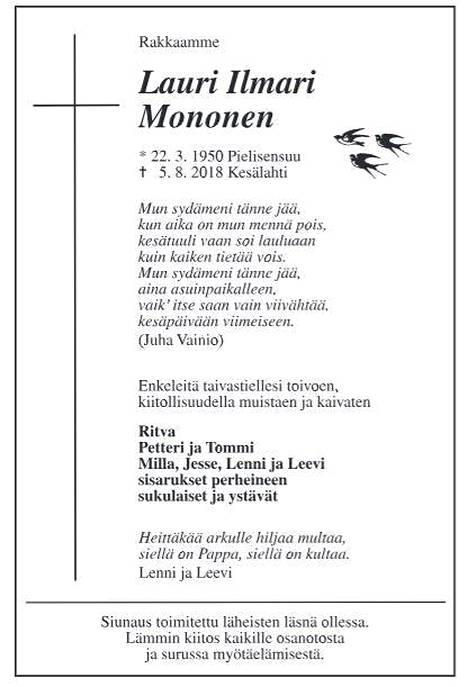 Lauri Monosen kuolinilmoitus julkaistiin sanomalehti Karjalaisessa sunnuntaina.