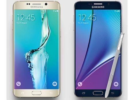 Samsungin mukaan uutuudet ovat myyneet paremmin kuin yhtiön älypuhelinten edellinen sukupolvi. Kuvassa Galaxy S6 Edge Plus ja Galaxy Note 5, joka ei ole myynnissä Euroopassa.