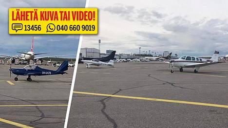 IS:n lukija lähetti kuvia pienkoneista Helsinki-Vantaan lentoasemalla.