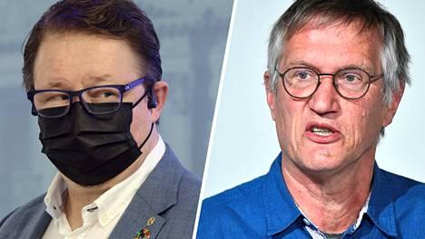 THL:n terveysturvallisuusjohtaja Mika Salminen (vas.) ja Ruotsin valtionepidemiologi Anders Tegnell.
