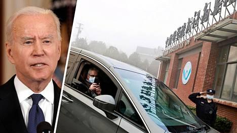 Yhdysvaltain presidentti Joe Biden on määrännyt maan turvallisuuspalvelut selvittämään koronaviruksen alkuperää. Kuva oikealla: WHO:n tutkijaryhmään kuulunut Dominic Dwyer saapui Wuhanin virologian instituuttiin helmikuussa.