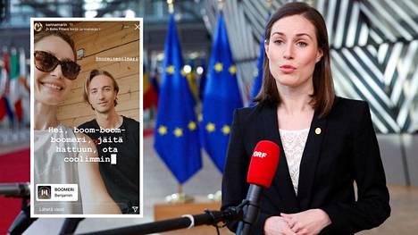 Pääministeri Sanna Marin (sd) puhui medialle EU:n huippukokouksessa Brysselissä perjantaina.