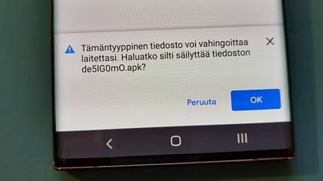 Android-puhelin pyytää lupaa haittaohjelman asentamiseen. Älä missään tapauksessa salli sitä. Kuva aiemmasta huijauksesta.