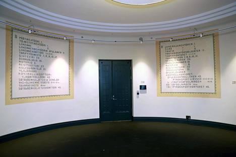 Seinällä lukee, keitä rakennuksessa on työskennellyt. Huoneessa 22 on joskus työskennellyt reistraattori.