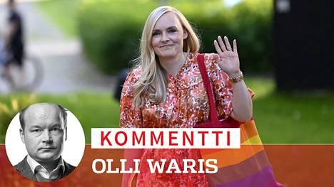Vihreiden puheenjohtaja, sisäministeri Maria Ohisalo saapui Ylen kuntavaalitenttiin 10. kesäkuuta.