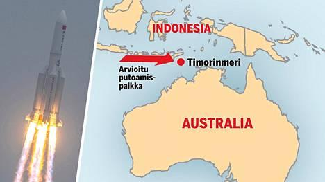 Roskosmosin ennusteen mukaan kantoraketti olisi putoamassa Timorinmereen.