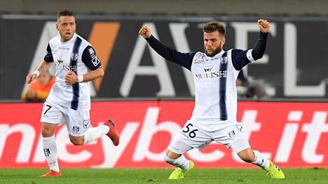 Perparim Hetemaj tuuletti osumaansa AC Milanin verkkoon.