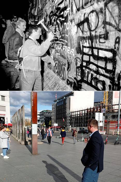 Potsdamer Platz 30 vuotta sitten ja nyt. Paikalla on muurinäyttely ja valtava ostoskeskus sekä liiketiloja.